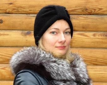 Black turban hat knitted turban hat wool turban hat womens turban headwrap womens hat wool turban head wrap knit wraped hat womens black hat