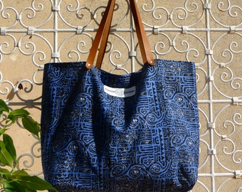 Odessa Totes in fabric prints Maori and leather handles