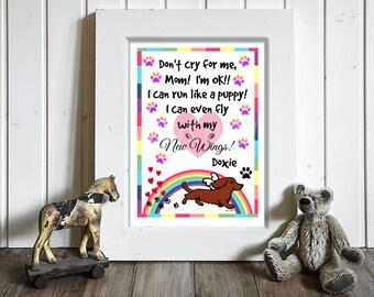 Dachshund Memorial Print, Personalized Red Long Haired Dachshund Angel, Dog Sympathy, Rainbow Bridge Art -- Doxie Angel 7x5