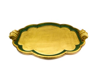 "Italian Florentine Gilt Wood Large 26"" Handled Tray Made for Gumps"