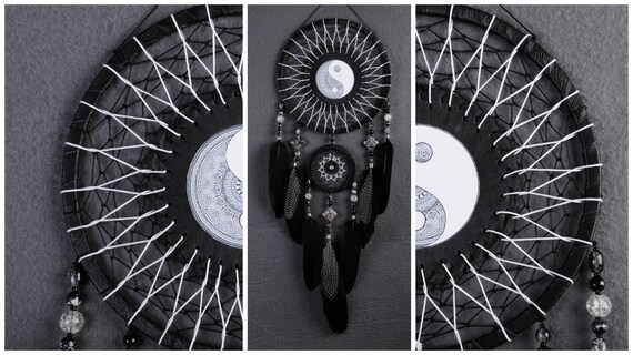 Dreamcatcher yin yang dreamcatcher black decor agate for Decoration murale yin yang