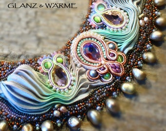 TALES of THE ORIENT necklace with shibori, Soutache & beadwork