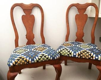 Queen Anne - Wax Print Chairs x2
