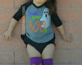 Baby Girl Halloween Outfit, Shake Your Booty, Fall Baby Outfit, Funny Ghost Shirt, Baby Girl Clothes, Toddler Girl Halloween Shirt, Boo tee