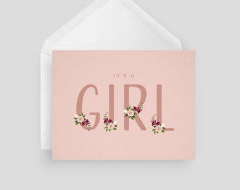 It's a Girl Baby Shower Card   Baby Shower Card   Greeting Card   Girly Card   Baby Card   Pretty Card   It's a Girl Card