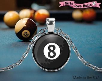 Cute Pool Billard 8-Ball pendant on delicate chain, vector style, elegant necklace