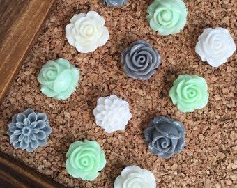 Push Pins, Decorative Tacks Set, Mint Green Decor, Teen Girl Gifts, Decorative Thumb Tacks, Pushpins, Gifts under 10, Office Cubicle Decor