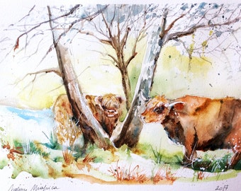 """Original Watercolour - Free delivery """"winter cows Highlands"""" (trees animal campaign cattle landscape meadow nature)"""