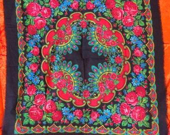 Russian Wool Roses Shawl Spring Black Shawl Scarf Rustic Style Black Shawl Boho Chic Shawl Head Scarf with Flowers Ukrainian Holiday Shawl