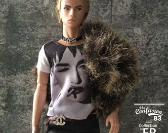 Miniature of Madonna t-shirt for Fashion Royalty FR and 1/6 action figure.