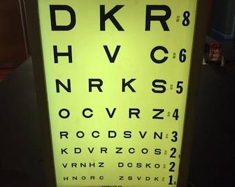 Vintage portable eye exam light box with charts Good-Lite