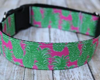 Pineapple Dog Collar -  Pineapple Dog Leash - Wide Dog Collar - XL Dog Collar - Summer Collar - Personalized Collar - Designer Dog Collar