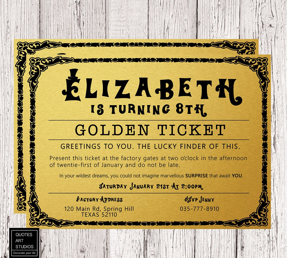 It is a graphic of Luscious Willy Wonka Golden Ticket Printable