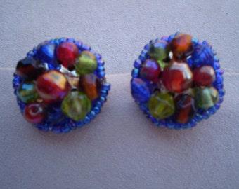 Colorful Festive Beaded Clip On Earrings