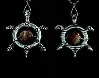 Silver Turtle Pendant with Stone, Wisdom Turtle Pendant, Pendant with Onyx, Fidget Pendant, Sterling Silver Pendant