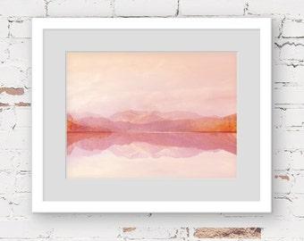 pink mountain art print, gold pink wall art, candy minimal art lake wall art print pink abstract landscape pink minimal art contemporary art