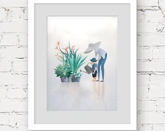 custom family portrait, mother and child print,  family art print, custom portrait illustration, garden lover gift, motherhood art print