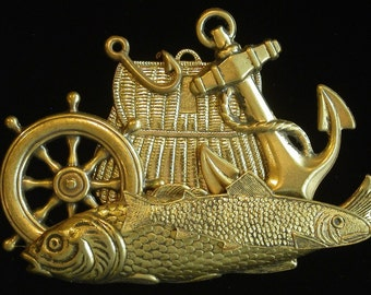 Gone Fishing Pin Brooch Fish Basket Pole Anchor Ship Wheel Antiqued Brass Ocean Deep Sea Fishermen Boat PG114