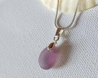 Sea glass necklace, sea glass jewelry, Purple seaglass, pendant on necklace, Genuine sea glass Beach glass, seaglass jewellery, Gift for her