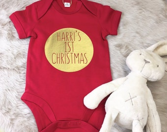1st Christmas Personalised babygrow- First Christmas baby gift- Christmas Gift for baby boy- Personalize for baby- Xmas baby gift with name