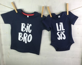 Sibling Clothing Set- Big brother Little sister Gift- gift for children- navy gift set- gift for siblings- Big Bro Lil Sis sibling set