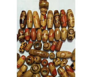 set of 100 wooden beads, oval, round, tubes of 7 mm to 18 mm, colors and patterns
