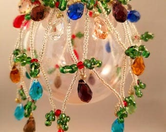 Handcrafted Christmas Light Ornament Cover Glass Seed Beads Glass Bicone Beads