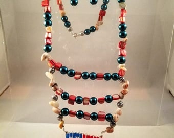 Patriotic Beaded Necklace with Red Shell Beads, Blue Glass Pearls, and Redline Marble Beads, and Dangle Earrings