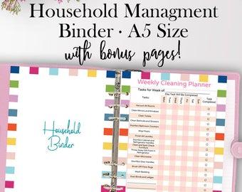 Home Management Binder Printables, Home Organization Binder Printables, Household Binder For Working Moms Printable Planner with Bonus Pages