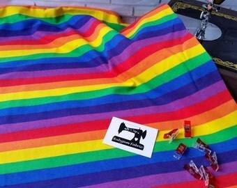 Bright - Rainbow - Stripe - Fabric - Cotton Lycra - Stretch Knit - 4 Way Stretch - Cotton Spandex - Rainbow Fabric - Pride Rainbow