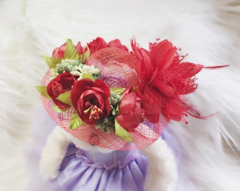 Swarovski Spring Red Flower 7 inch Dog Hat