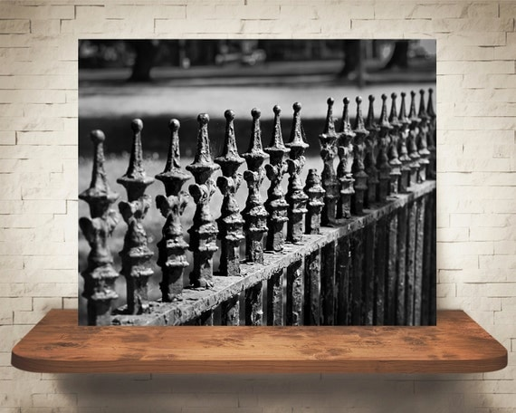 Gothic Wrought Iron Fence Photograph - Halloween Decor - Black White - Fine Art Print - Home Wall Decor - Goth Pictures - Vintage Fence
