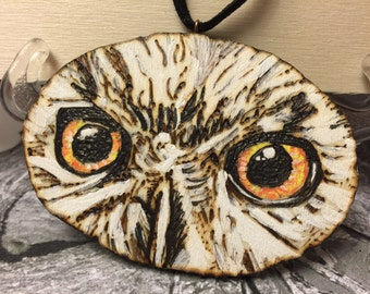 OWL pendant necklace hand crafted wooden reindeer more-ash