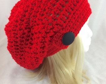 red slouchy hat, red slouchy beanie, women hat, crochet slouchy hat, women knit hat, red knit slouchy, women winter hat, fall fashion