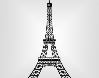 Eiffel Tower, Paris, Cutout, Vector art, Cricut, Silhouette Cameo, die cut, instant download, Digital Cut, Print Files, Ai, Pdf, Svg