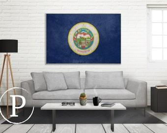 Minnesota Flag Canvas, Single Panel Large Canvas, Three Panel Large Canvas, Minnesota Flag, Large Canvas Wall Art, Vintage Flag on Canvas