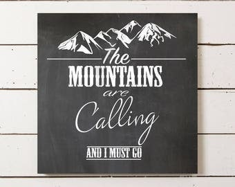 The Mountains Are Calling And I Must Go Canvas, Vintage Mountain Canvas, Black and White Vintage Print, Canvas Wall Art, Canvas Wall Decor