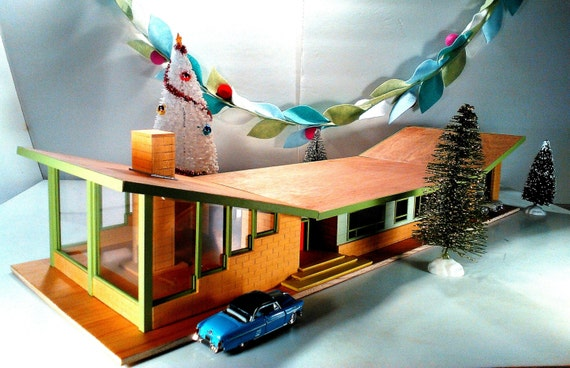 Handcrafted, Mid-century modern, atomic ranch, Fifties style, OOAK, MCM, cool Yule, Christmas gift, architecture, architectural model, mod