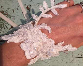 Vintage Lace Pearl Bridal Wedding Cuff Bracelet
