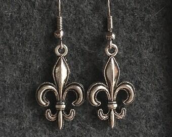 Fleur De Lis Silver Earrings Detailed Fleur De Lis Silver Fleur De Lis New Orleans Saints Earrings Saints Inspired Fleur De Lis Earrings