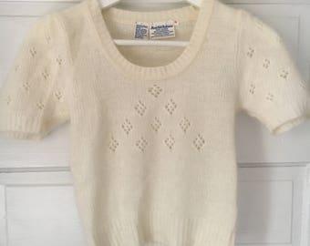 Vintage White Angora Rabbit Wool hand knit sweater top XS S M crop crochet 60's 70's 80's
