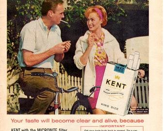 1960s Kent cigarettes vintage magazine ad wall decor man cave decor (1704)