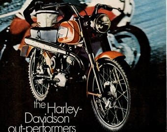 1968 Harley Davidson Motorcycle Vintage Motorcycle magazine ad wall decor (1705)