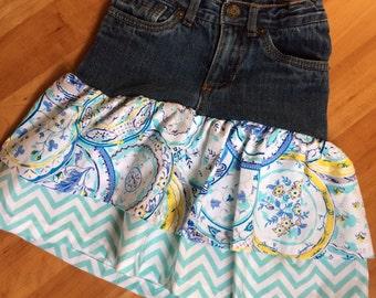 Upscaled jean ruffled skirt 3T