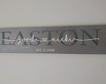 Last name wood sign with vinyl