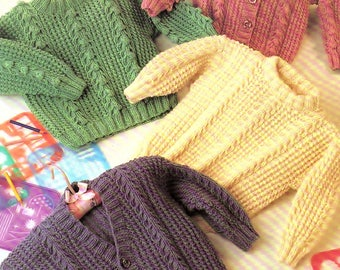 Childrens Aran Sweaters And Cardigans, Knitting Pattern. PDF Instant Download.