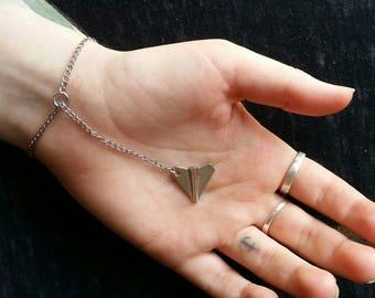 Simple paper plane bracelet
