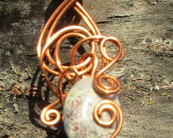 Jasper Swirl Copper Wire Pendant