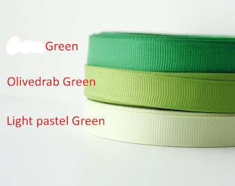 "1/2"" Ribbon by the yard, Grosgrain ribbon, Grossgrain ribbon, Green colour palette, Scrapbooking supplies, Sewing, Hairbow Supplies, Craft"