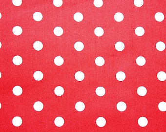 Polkadot Fabric, Cotton Fabric, Red, Polka Medium Dots, Basic Essential, Quilting Dressmaking Sewing Patchwork Supplies, Wide, Half Metre